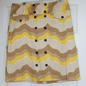 Yellow and Tan Linen Skirt Button Accents size 6